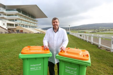 Photos of Andidigestion food recycling bins which were used at this year's Cheltenham Festival at Cheltenham Racecourse. Pictured with kitchen porter Mike Jones. Contact: Rebecca Morris, Leapfrog PR or Photographer Anna Lythgoe 07801819711 04.04.16. 4 April 2016