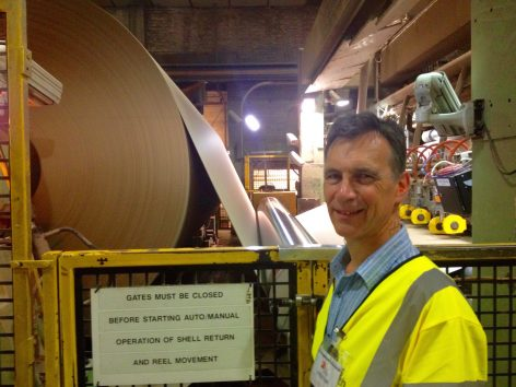 Cllr Rory Love, Chairman of the Kent Resource Partnership, visits DS Smith's Kemsley Mill in Sittingbourne